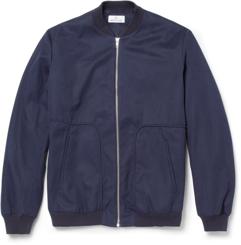 Hentsch Man for MR PORTER navy bomber jacket